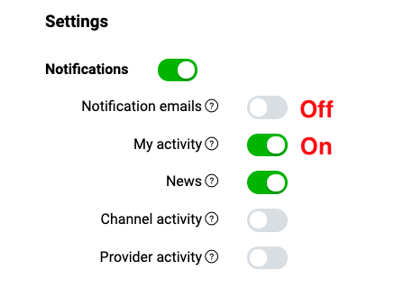 LINE Developers Console notification center settings