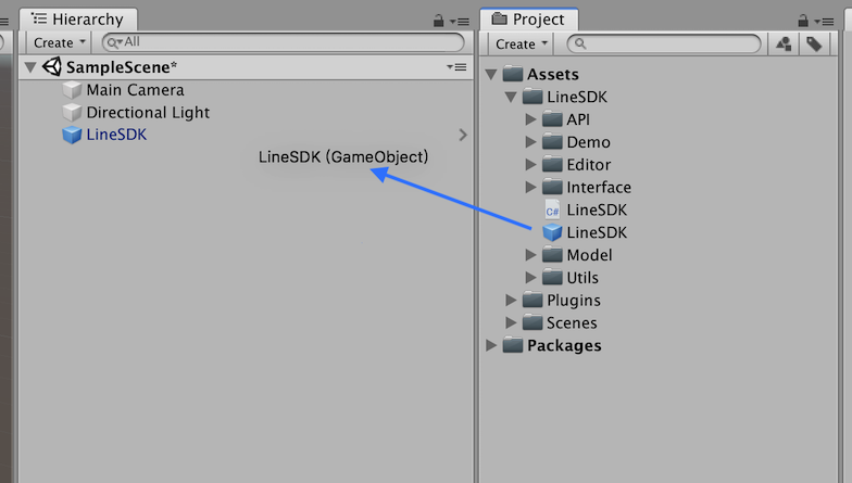 Add LineSDK prefab